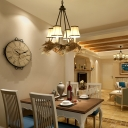 4 Lights Bell Chandelier Lighting with Antler Rustic White Fabric Shade Pendant Lamp for Dining Room
