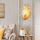 Double/Left/Right Peacock Wall Lighting Country Style 1/2-Pack Sconce Light with Dome Crystal Shade in Yellow/Green/Gold