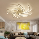 3/4/5/6 Bulbs Dandelion Ceiling Flush Mount Light Modernist Acrylic White Flushmount Ceiling Lamp in Warm/White