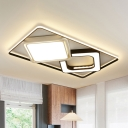 Black and White Square Flush Lighting Contemporary Metallic Led Flush Mount Lamp with Frosted Diffuser