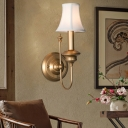 Country Style Bell Shade Sconce Light 1 Head Wall Mount Lighting in Gold for Bedroom