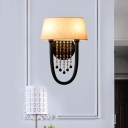 2 Bulbs Drum Wall Mounted Lamp with Crystal Bead Traditional Sconce Light in Black