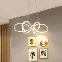 White Twisted Pendant Chandelier Minimalist Aluminum LED Chandelier Light Fixture in Warm/White