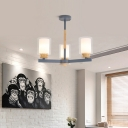 Minimalist Cylinder Pendant Light Fixture with Opal Glass Shade Gray/White 3/5/6/8 Lights Chandelier Lighting