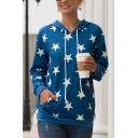 Womens Fashion Allover Star Pattern Long Sleeve Drawstring Pullover Hoodie with Pocket