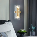 Double Pipe Crystal Wall Sconce Simple Style 2 Lights Sconce Lighting with Rectangle Backplate in Brass