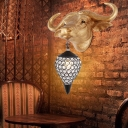 1 Light Teardrop Wall Light Fixture Traditional Clear Crystal and Metal Wall Lamp with Gold Cattle Backplate