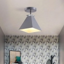 Pyramid Semi-Flush Mount Fixture Metal Modernist 1 Light Semi Flush Ceiling Light in Gray/White/Green