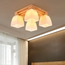 Opal Pyramid Glass Shade Flush Light Contemporary 4/6/9 Lights Ceiling Light Fixture in Wood Finish