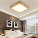 1/4/6 Bulbs Squared Close to Ceiling Lamp Contemporary Wood LED Flush Mount Ceiling Light for Living Room