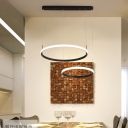 Modern Brown Ring Pendant Lighting with Linear Canopy Integrated Led 2/3/5 Lights Chandelier Lamp, White/Neutral/Warm