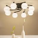 3/5/8 Heads Spherical Semi Flush Ceiling Light with Swivel Backplate White Glass Loft Ceiling Lighting in Black