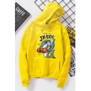 Letter JKIEE Muscle Shark Pattern Long Sleeve Boxy Drawstring Hoodie with Pocket