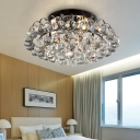 Modernism Clear Crystal Flush Mount Light 3 Lights Indoor Flush Ceiling Light in Black for Bedroom