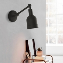 Dome Wall Mount Reading Light with Swing Arm Simple Metal 1 Light Black/White Wall Lamp