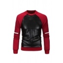 Fashion PU Leather Color Splicing Cross Pattern Long SLeeve Casual Pullover Sweatshirt