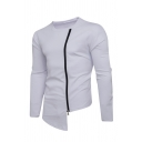 Leisure Whole Colored Round Neck Long Sleeve Irregular Hem Side Zipper Sweatshirt