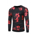 Fancy Flower Printed Round Neck Long Sleeve Pullover Sweatshirt for Men