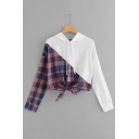 Fashionable Check Pattern Panelled Long Sleeve Tied Knot Hem Drawstring Hoodie