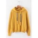 Plain Long Sleeve Rhinestone Embellished Drawstring Hood Sweater Womens Loose Hoodie