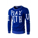 Lovely I PLAY WITH YOU Letter Printed Long Sleeve Pullover Sweatshirt