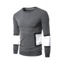 Color Block Geometric Patchwork Long Sleeve Letter Printed Back Pullover Sweatshirt