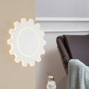 Black/White Gear Wall Lighting Modernism Metal Led Wall Lamp in Warm/White for Corridor