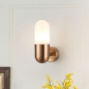 Capsule Wall Sconce Modernism Frosted Acrylic Shade 1 Light Wall Lighting in Black/Gold/Grey/White