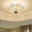 Brass Peacock Tail Flush Ceiling Light Dome Elegant Style Metal Ceiling Lamp for Living Room