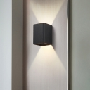 Cube Wall Light Fixture Simple 1 Light Up and Down LED Wall Sconce in Black/Bronze/Gold/White
