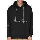 Mens Stylish Letter Embroidered Long Sleeve Casual Sports Pullover Hoodie