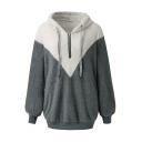 Womens Winter Warm Color Block Long Sleeves  Faux Fur Fluffy Teddy Half-Zip Loose Hoodie