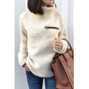Simple Plain Zippered Front High Neck Long Sleeves Fluffy Teddy Pullover Sweatshirt