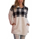 New Trendy Half-Zip Stand Up Collar Plaid Print Color Block Pocket Long Sleeve Loose Fluffy Teddy Sweatshirt