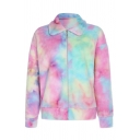 New Stylish Stand Up Collar Colorful Long Sleeve Fluffy Teddy Zip Up Sweatshirt