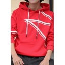 Mens New Stylish Contrast Curve Printed Long Sleeve Casual Sports Pullover Hoodie