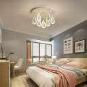 Contemporary Ceiling Light Fixture with Hanging Teardrop Shade Led Flush Ceiling Light in White