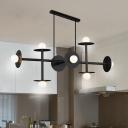 Black Linear Pendant Lighting Modern Metal 8 Lights Indoor Island Light for Dining Room
