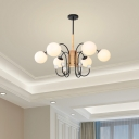 6/8/10/12/15 Lights Orb Chandelier Lamp Modern Opal Glass Living Room Pendant Light in Black