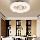 Modern Circle Flush Mount Light Fixture Acrylic Unique White Ceiling Fixture in Natural/White for Bedroom