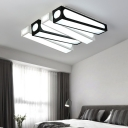 Modern Linear Square Flush Mount Light Acrylic LED Ceiling Light in Black and White for Foyer