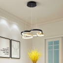 3 Lights Led Heart Pendant Lighting Modern Metallic Chandelier Light in Black and Gold