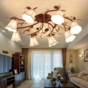 8 Heads Scalloped Semi Flush Chandelier Traditional White Fabric Shade Semi Flush Lighting in Rust