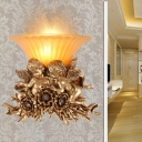 Amber Glass Flared Wall Mounted Light Country Style 1 Light Wall Light Fixture with Gold Angel Decoration