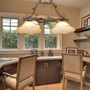 Rustic Scalloped Island Pendant Light with Pinecone Frosted Beige Glass 2 Heads Hanging Chandelier in Rust