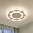 Iron Floral Flush Lighting Modern Integrated Led Bedroom Flush Ceiling Light in White