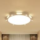 White Flower Flush Mount Lighting Modernism Metallic Led Flush Ceiling Light for Living Room, 19