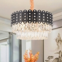 Round Chandelier Pendant Light Clear Faceted Crystal 12 Lights 19.5
