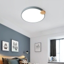 Gray/White Circular Flush Mount Light Contemporary Metal LED Flush Ceiling Light for Bedroom, 12