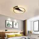Black-White Circular Flushmount Ceiling Fixture Modern Metal LED Flush Ceiling Light in Warm/White, 16
